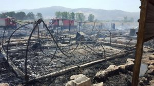 Aftermath of a fire in the camp. Photo credit: Save the Children Lebanon