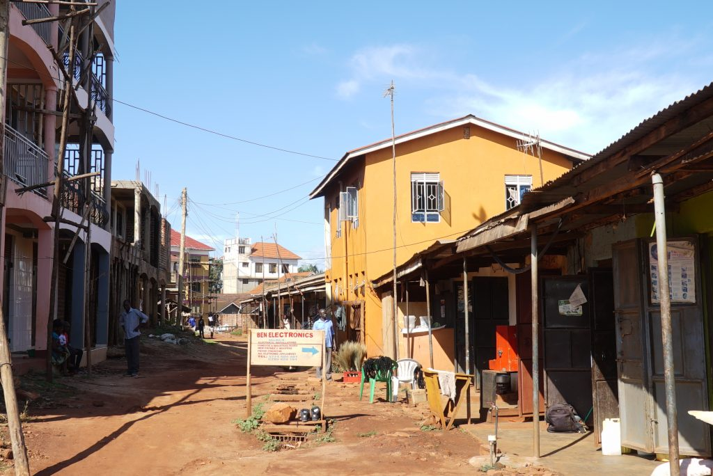 "The ""mother project"" in Lubaga market (the two-storey building in orange)."