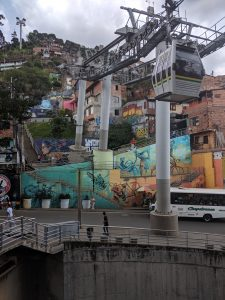 Metrocable system servicing the nearby comuna.