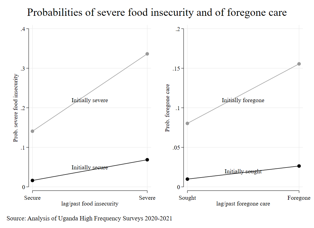 Foregone healthcare and severe food insecurity: dynamic impacts of pandemic lockdown in Uganda one year on